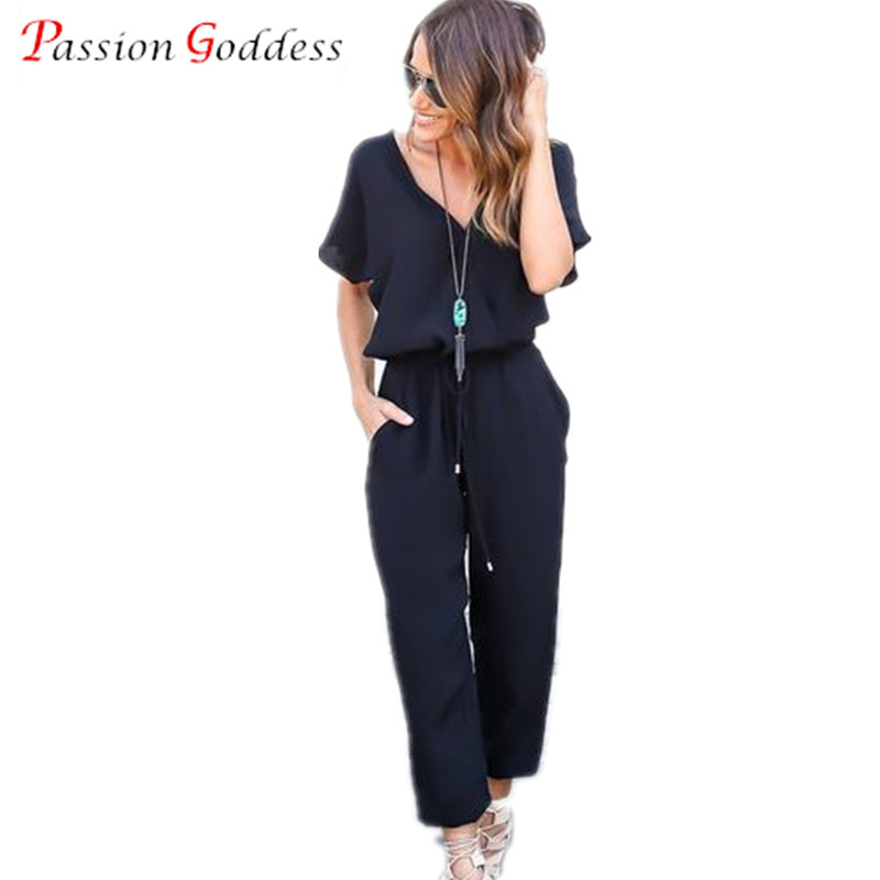 Plus Size 2016 Summer Fashion Long Chiffon Rompers Womens Jumpsuit V Neck Short Sleeve Loose Casual