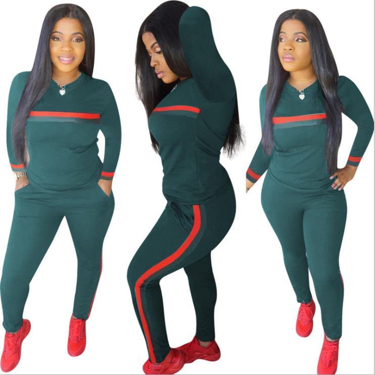 Stripe Tracksuits 2 Set Piece Set Woman Tops Sweatshirt Long Pants Pockets Club Suits Overalls Outfit