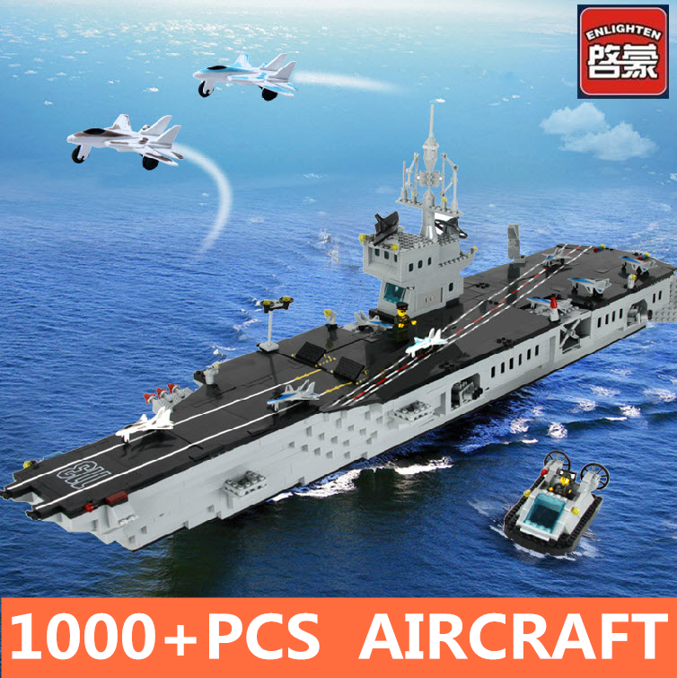 ENLIGHTEN CombatsZone Military Nimitz Aircraft Carrier Battleship Hovercraft Model Building Blocks minifig Kids Toys Gift enlighten building blocks military cruiser model building blocks girls