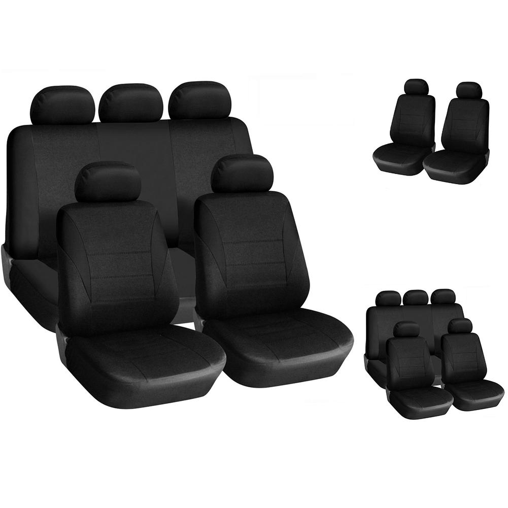 9 Pcs For Toyota Full Set Grey Car Seat Covers Soft Breathable Fabric Protectors
