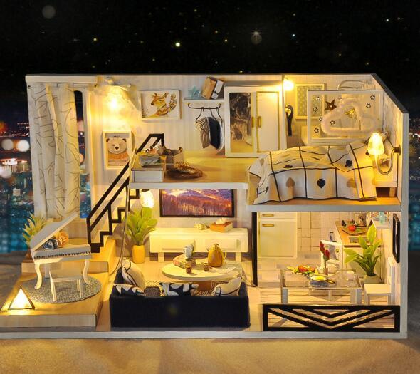 Tovar Assembling Diy Doll House Wooden Deluxe Suite Diy Handmade