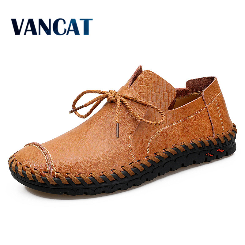 VANCAT Genuine Leather Men Casual Shoes Fashion Handmade Outdoor Walking Shoes For Men Flat Driving Moccasins chaussures homme hot sale mens italian style flat shoes genuine leather handmade men casual flats top quality oxford shoes men leather shoes