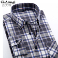 2016 New Flannel Men Plaid Shirts Autumn Luxury Slim Long Sleeve Brand Formal Business Fashion Warm Shirts camisa masculina