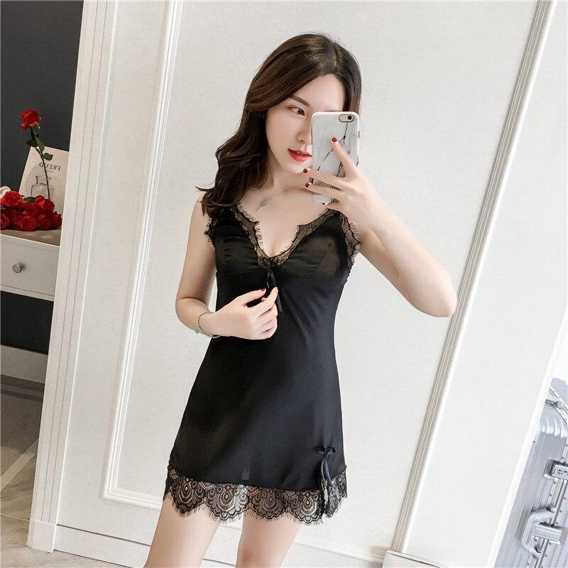PKSAQ Satin Sleepwear Female Sexy Backless   Nightgowns   &   Sleepshirt   V-Neck Sleep Lounge Silk Night Dress Sexy Nightwear Lingerie