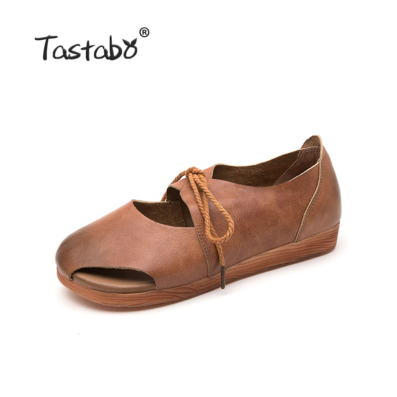 Tastabo Leather shoes Comfortable soft soled shoes Yellow brown flats Casual wild breathable Handmade women's shoes-in Women's Flats from Shoes    2