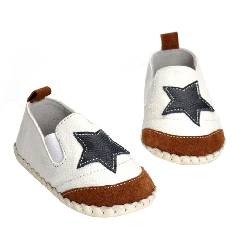 Leather Baby Moccasins Anti Slip Soft Bottom Baby Boy Girl Toddler First Walker Shoes Leather Star Print 6-12M Baby Shoes
