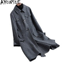 AYUNSUE 2019 Real Wool Coat Female England Style Double-side Woolen Coats For Women Long Autumn Winter Jackets KQN38045(China)
