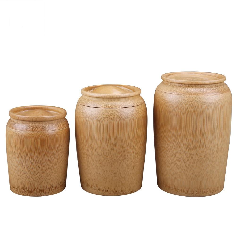 Tubo Redondo de Té de bambú de herramientas de cocina Café Botes Tarro de Almacenamiento Azúcar uno