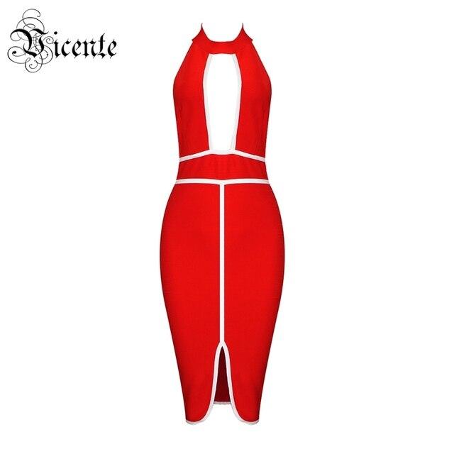 Vicente HOT Stylish Color Block Dress Sexy Key Hole Design Backless Sleeveless Wholesale Celebrity Party Wear Bandage Dress