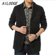 AILOOGE Brand New blazer men Casual Blazer Cotton Denim Parka Men's slim fit Jackets Army Green Khaki Large Size M -XXXXL