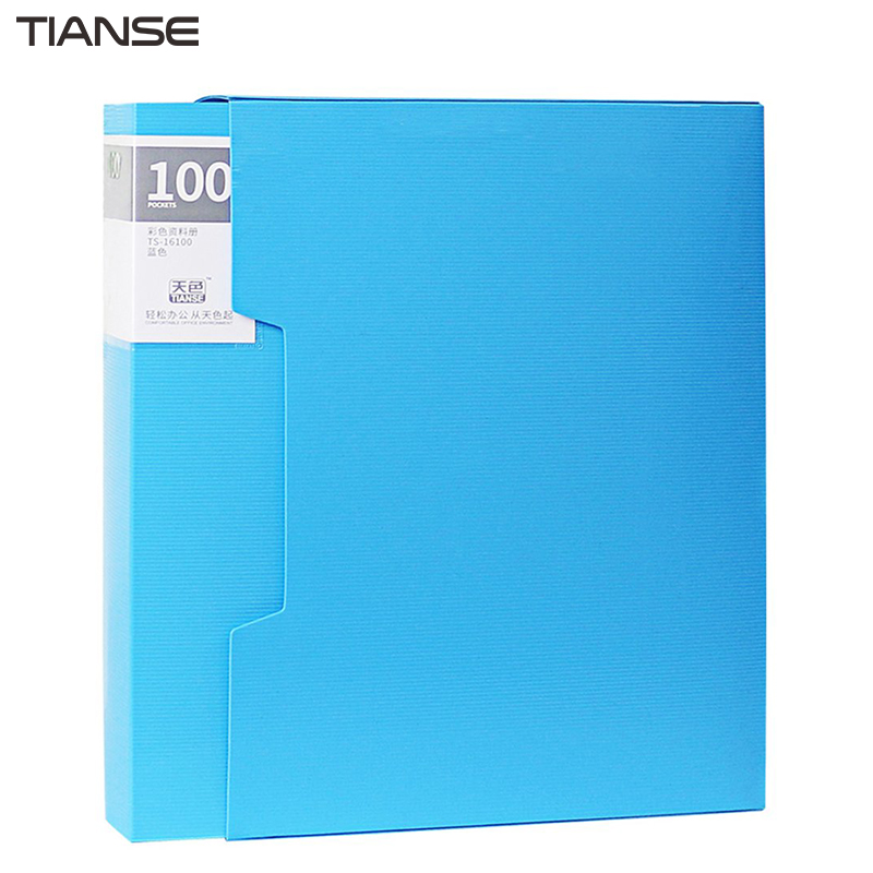 TIANSE Colorful Design TS-16100 PP File Folder Document Folder 100 Pages Data Book Folder For A4 Paper Office Supplies guangbo a4 file folder pp exam lever arch for business documents paper data book clip filing folder clipboard office accessories