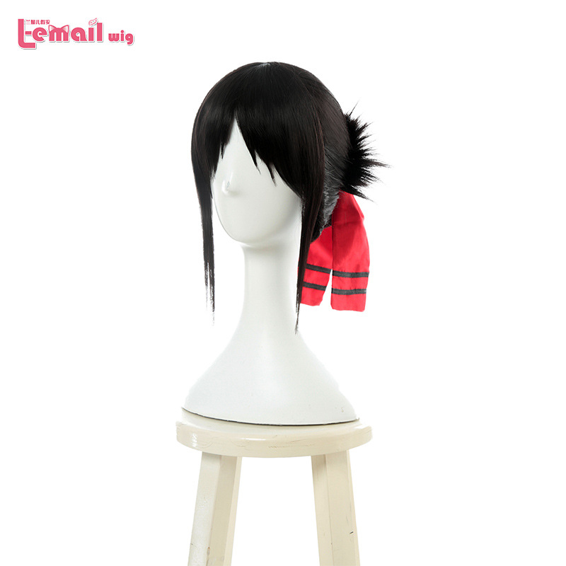 L-email Wig New Kaguya-sama Love Is War Kaguya Shinomiya Cosplay Wigs Black Heat Resistant Synthetic Hair Perucas Cosplay Wig