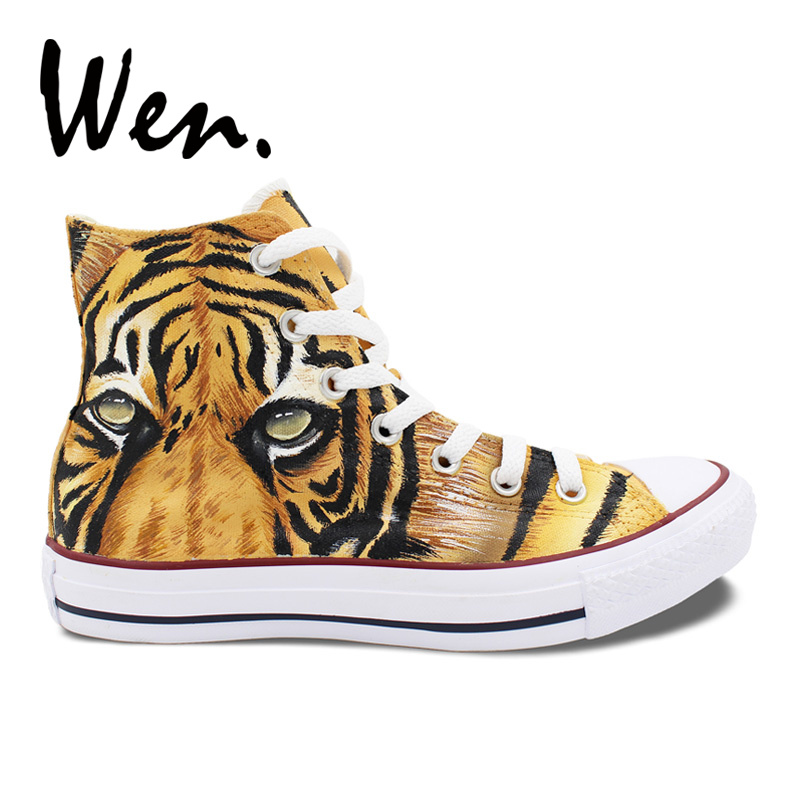 Wen Design Custom Shoes Hand Painted Sneakers Tiger Yellow High Top Men's Canvas Sneakers Birthday Gifts wen design custom blue hand painted shoes scott pilgrim high top woman man s canvas sneakers for birthday gifts