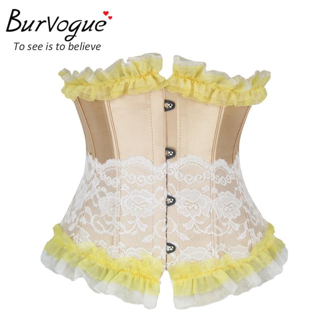 Burvogue corsé atractivo del underbust de halloween de encaje cintura corsés y bustiers slimming control espartilhos corsé de satén