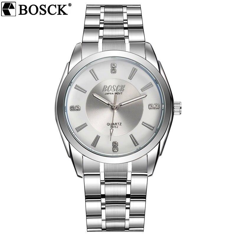 BOSCK Heißer Herrenuhren Klassischen Top-marke Luxury Business Uhr-beiläufige Wasserdicht Herren QuartzWatch Edelstahl Mann Armbanduhr