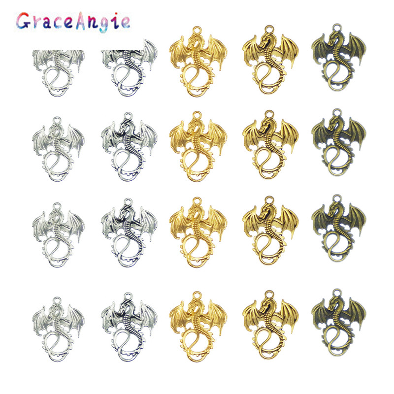 Mix Mini Charms Antique Silver gold bronze Zinc Alloy Dragon Charms Pendants for Jewelry Making DIY Handmade Craft Hanger Dec(China)