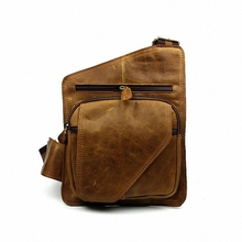 Vintage genuine leather men chest bag 100% guaranteed cowhide leather chest pack bags for male men's crossbody bags LI-822
