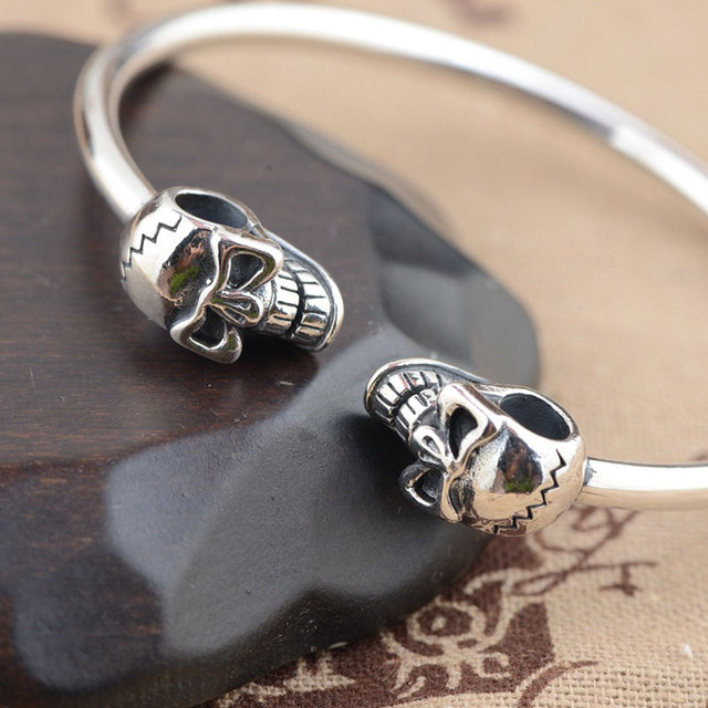 925 Sterling Silver Bangle Skull Women Men Jewelry Hight Quality Thai S925 Solid Silver Jewelry Making Double Skeleton Bangles