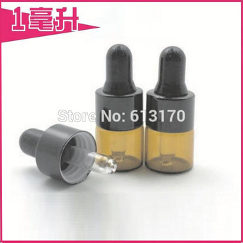 Free Shipping 100/lot 1ML Amber Glass Bottles 1CC Empty Essential Oil Bottle Brown Mini Small Sample Vials with Black Rubber фото