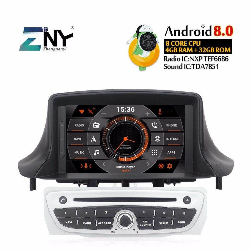 Android 8,0 автомобильный DVD 1Din Авторадио для Megane 3 2014-2009 Fluence 7 HD аудио стерео Bluetooth gps навигация Бесплатная резервная камера