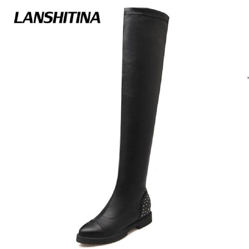 LANSHITINA Women Over Knee Boots Ladies Riding Fashion Long Snow Boot Warm Winter Brand Botas High Heel Cool Footwear Shoes G115