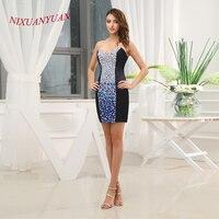 NIXUANYUAN 2017 Elegant Crystal Party Dress Navy Blue Satin Cocktail Dresses 2017 Short Straight vestidos de cocktail Real Photo