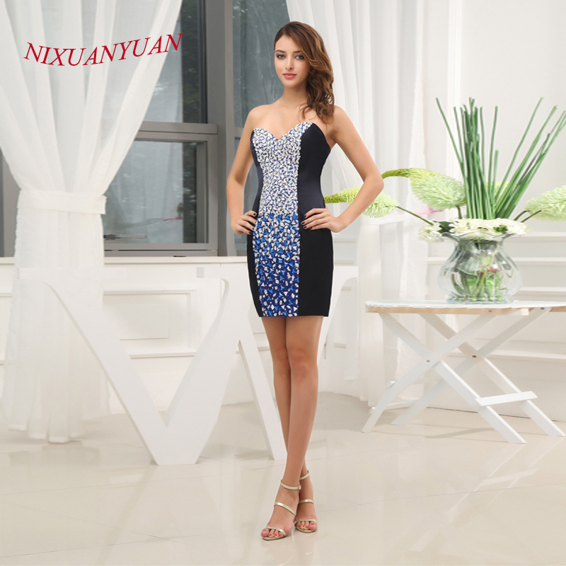 NIXUANYUAN 2017 Elegant Crystal Party   Dress   Navy Blue Satin   Cocktail     Dresses   2017 Short Straight vestidos de   cocktail   Real Photo