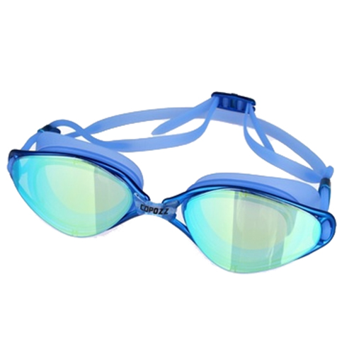 2018 new Copozz Plating Mirrored Swimming Waterproof Glasses for Adults Sport anti uv fog Protection Swim Goggles Blue