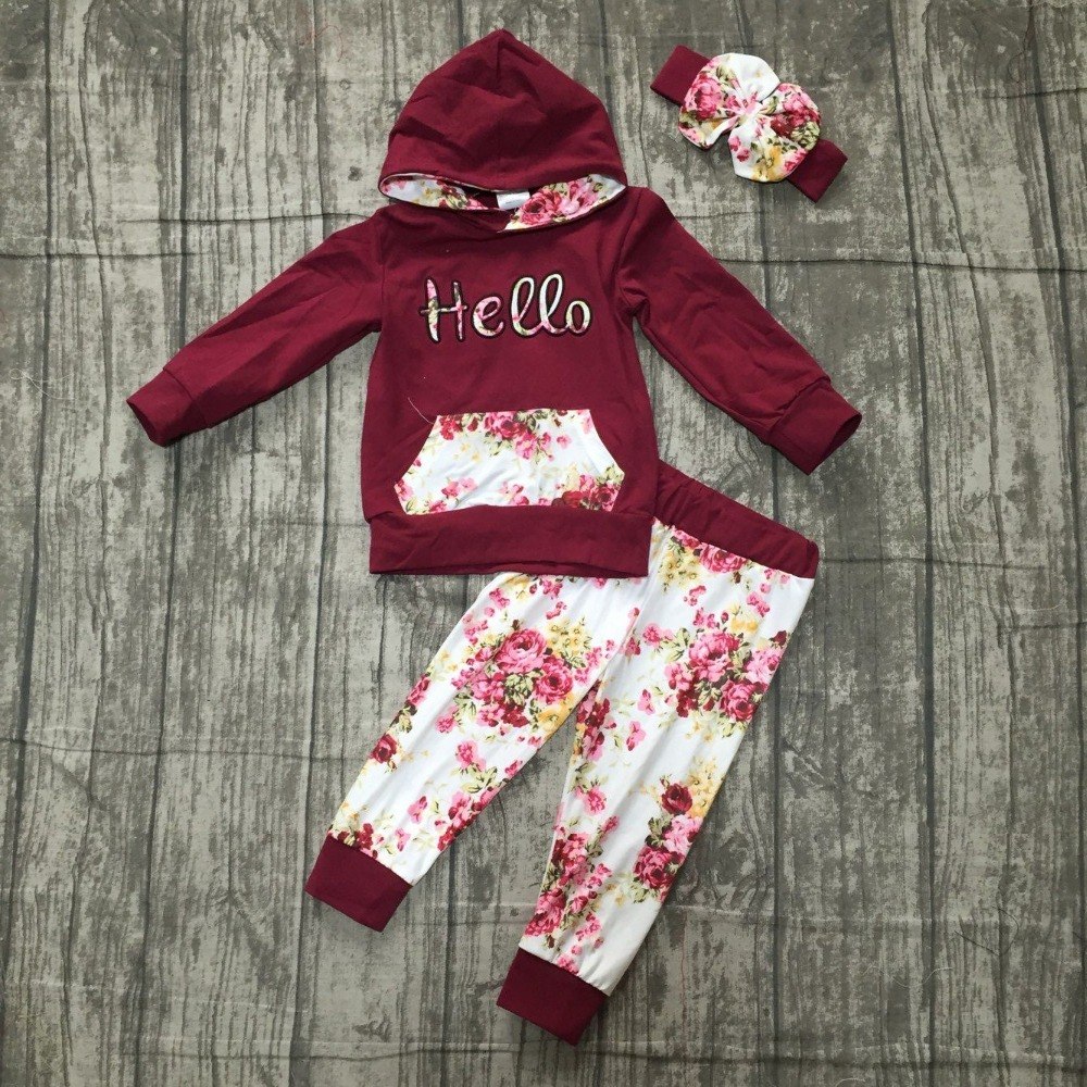 new Fall/winter outfits baby girls hoodie clothes children wine burgundy hello floral milk silk cotton boutique pocket match bow hello wine page 8
