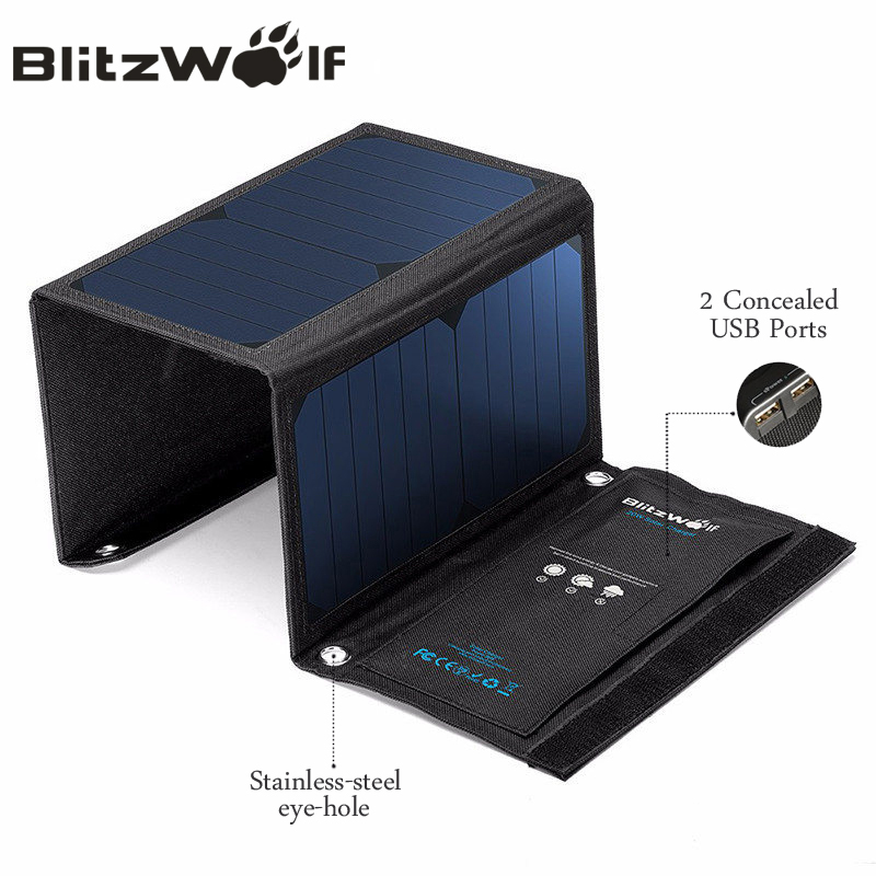 BlitzWolf 28W Solar Power Bank Solar Panel Portable Charger External Battery Universal Powerbank For iPhone For Xiaomi Phones