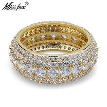 HOT!!! Hip Hop Free Shiping 5 Row CZ Diamond Men Ring Fashion Pure Zircon Ring Yellow 18k Gold Round Luxury Brand Sieraden цена