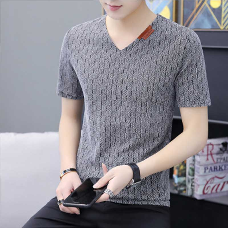 2019 new fashion <font><b>mens</b></font> t shirt solid color plaid <font><b>mesh</b></font> breathable <font><b>tshirt</b></font> <font><b>men</b></font> summer casual short sleeve male tops image