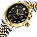 Tevise relógios mecânicos dos homens marca suíça autêntica moda de diamantes calendário automático à prova d' água de mesa masculino