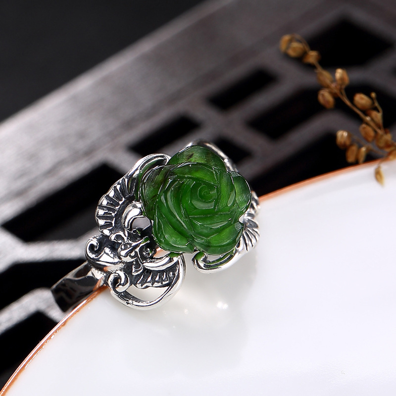 Rose limitée femmes jaspe fête Anel Feminino 2018 nouveau S925 Sterling Antique mosaïque et chauve-souris Rose anneau d'ouverture anneaux en gros