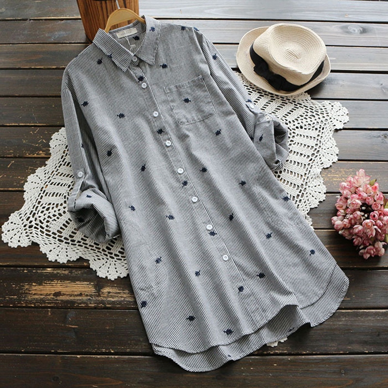 YSMILE Y Spring Women Embroidery Shirt Striped Turn down Collar Adjust Sleeve Long Blouse Female Casual Daily Clothes YK1779
