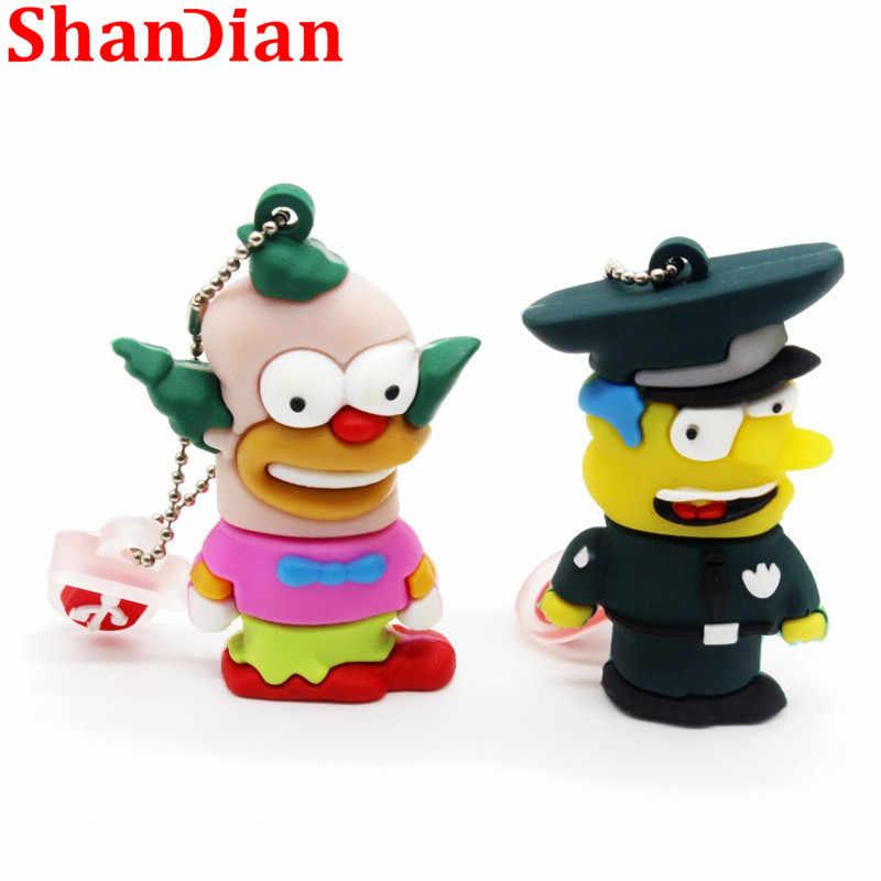 Shandian Bart Simpson Mouse Serigala 4GB 8GB 32GB 64GB Memori Stick U Disk Flashdisk Homer Pena drive USB Flash Drive
