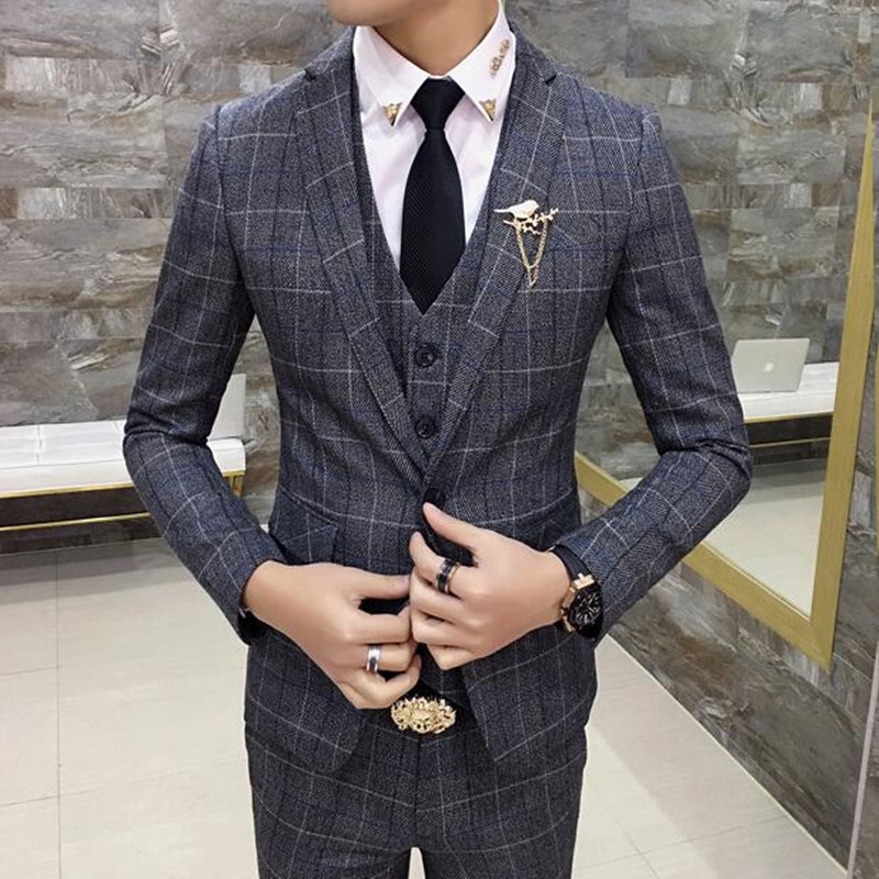 Folobe 3 Stück Schlank Karierten Anzug Männer Überprüfen Anzüge Für Bräutigam Kostüm Mariage Homme Business Casual Büro Anzug Männer Smoking Plus 5xl Anzüge