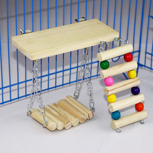 Wooden squirrel toy three-piece suit high quality springboard swing ladder large parrot 3pcs/set Bird cage accessories Toys