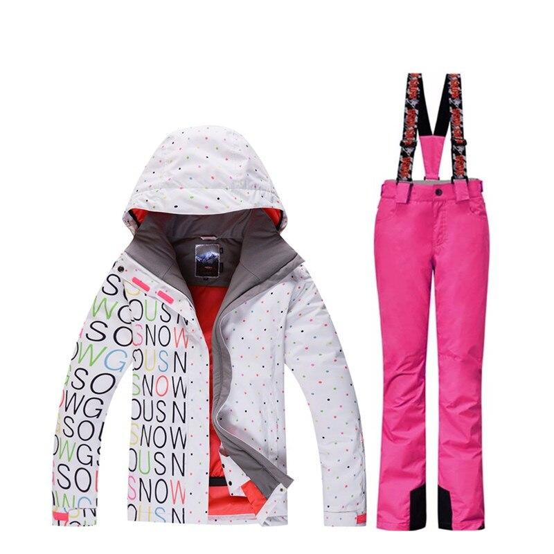 2019 haute qualité mesdames combinaison de ski costume snowboard costume 10 k imperméable coupe-vent hiver habit de neige mis en + bib chaud ski pantalon
