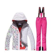 2019 высокое качество дамы лыжный костюм Сноуборд костюм 10 К водонепроницаемый ветрозащитный зима зимний костюм комплект + нагрудник теплые лыжные Штаны