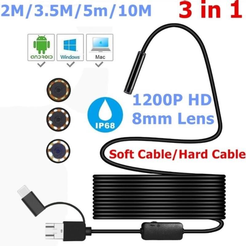 2/3. 5/5/10 m 8mm micro usb tipo-c usb 3-em-1 computador endoscópio borescope tubo ip68 impermeável usb inspeção mini câmera de vídeo
