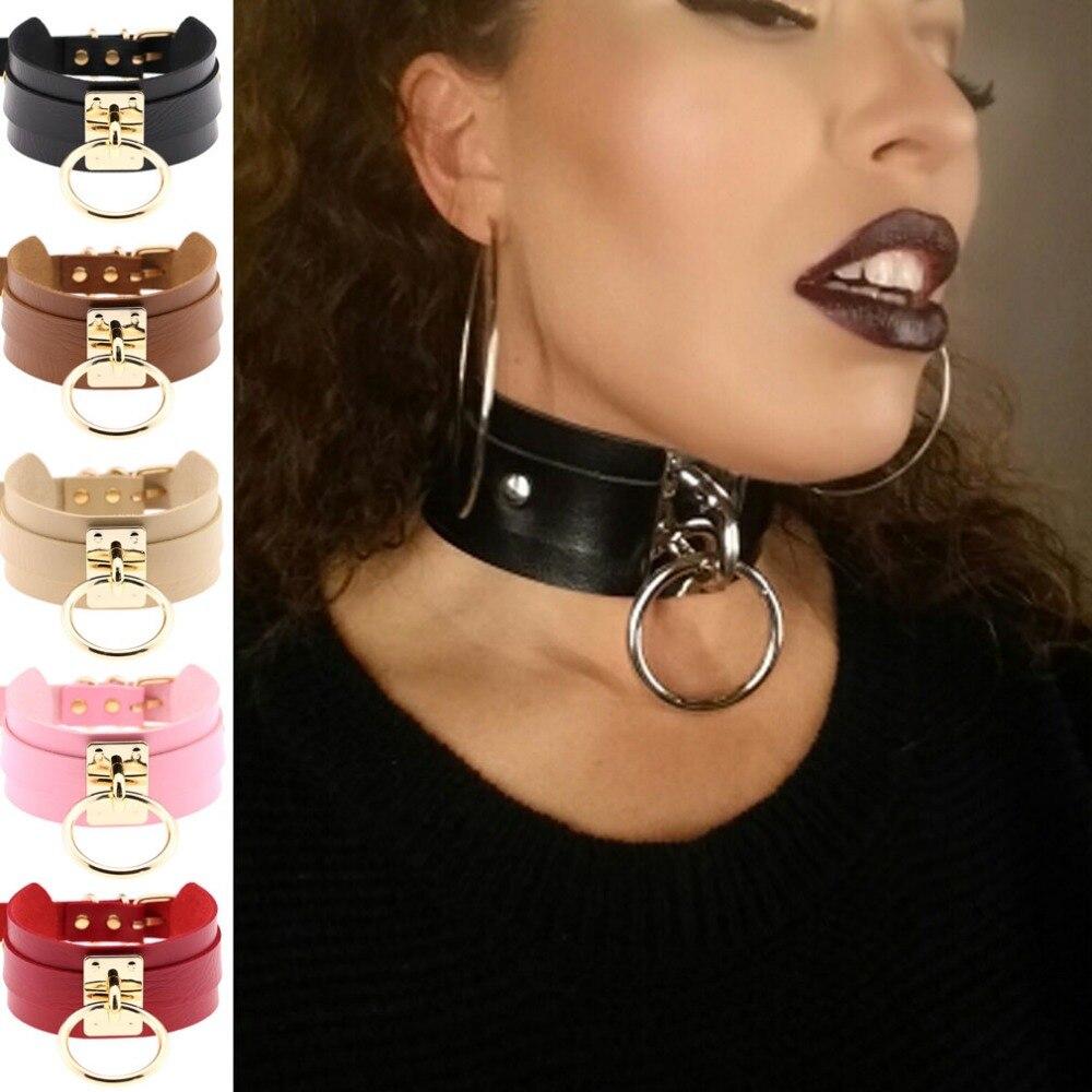 Women Men Cool 100 Handmade Oversized Choker Fetish O Round Metal Silver Gold Leather -8581