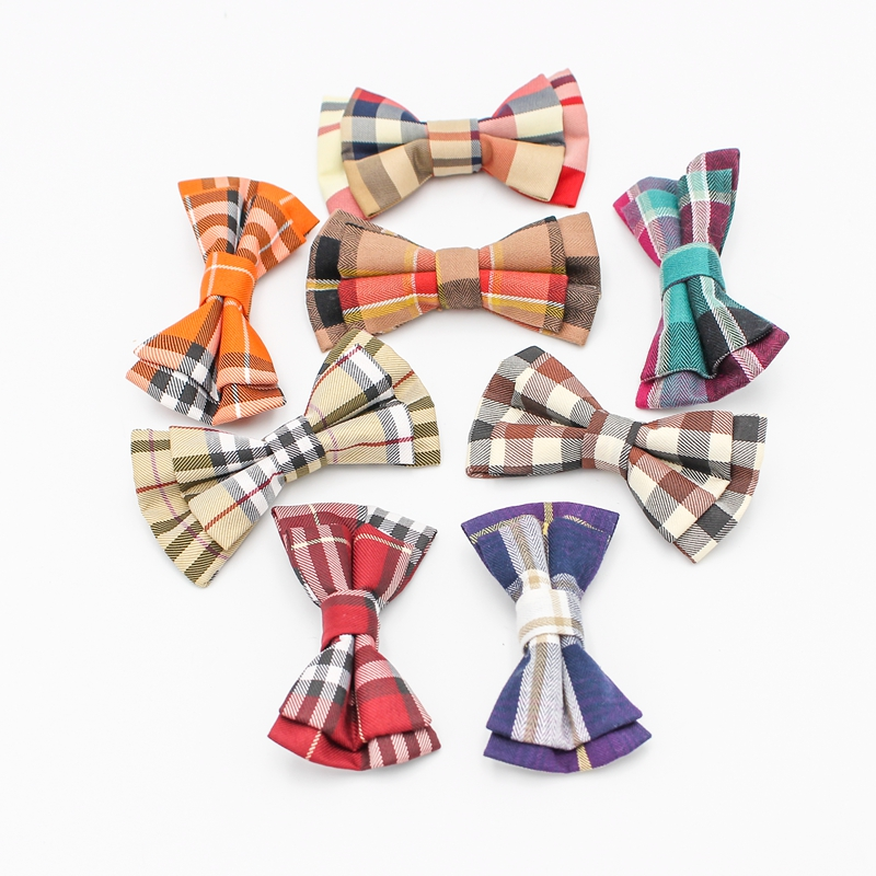 New Plaid Bow Ties For Children Neckwear Adjustable Tuxedo Boys Girls Bow Tie For Party Causal Cotton Bowties