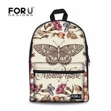 77b9f77dec843 Forudesigns 3d baskı kelebek okul çantaları kızlar için moda tuval kadın  seyahat bookbag orta öğrenci schoolbag mochila çocuklar