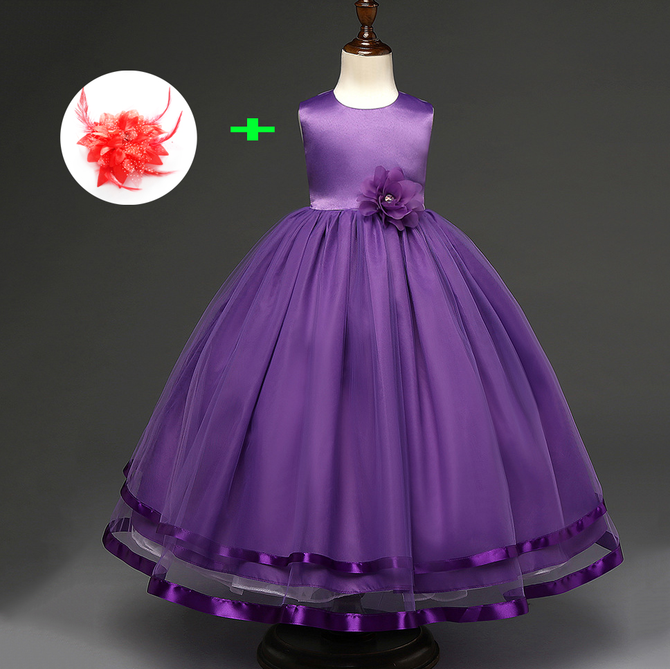 2018 New Arrival Baby Wedding Party Flower Ball Gown Girls 4 To 11 Year Olds Purple Pink Red ...