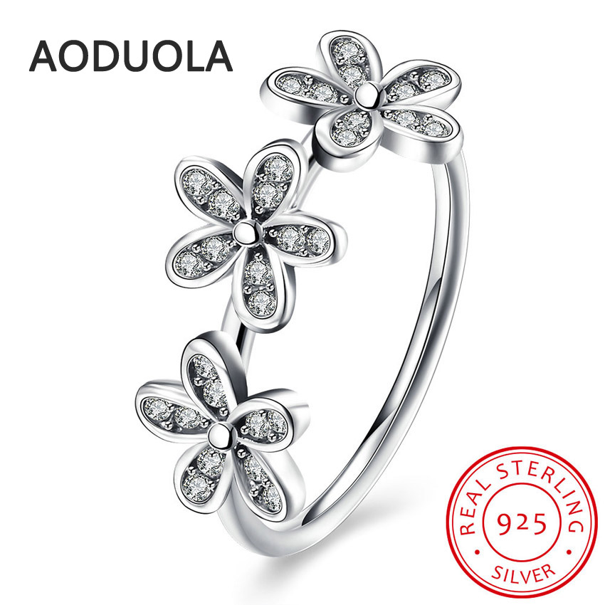 925 Sterling Silver Ring Dazzling Daisies and Clear CZ Womens Rings for Ladies and Girls Finger Lover wedding Gift