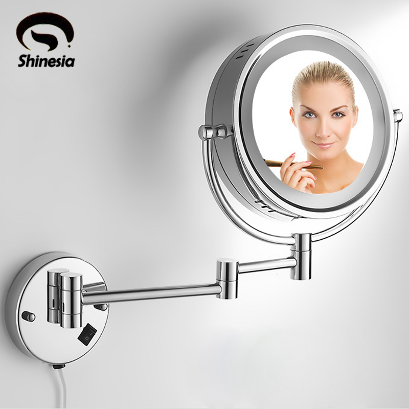 Brass 3X /1X LED Lighted Vanity Make Up Mirror Double Side 8 Magnifying Mirror danielle enterprises chrome magnifying vanity mirror