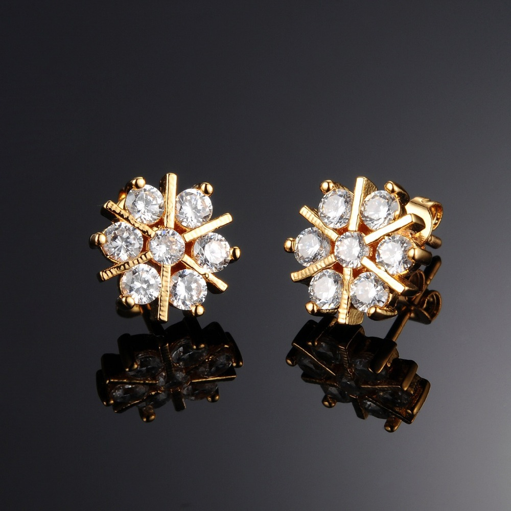 Fate Love Gold Color Women Stud Earring Fashion Snowflake Design Inlaid Cubic Zirconia Jewelry Price Gift In Earrings From
