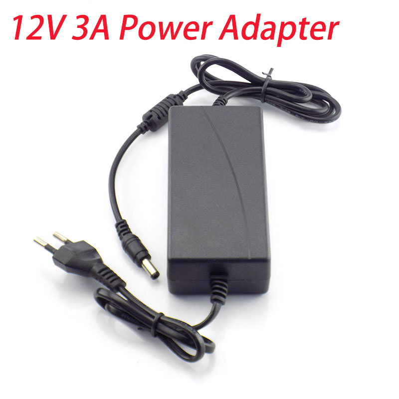 12V 3A 3000mA Power Supply Charger AC to DC 100 - 240V Charging adapter US EU Plug 5.5mm x 2.5mm for Led Grow Strip Light Lamp