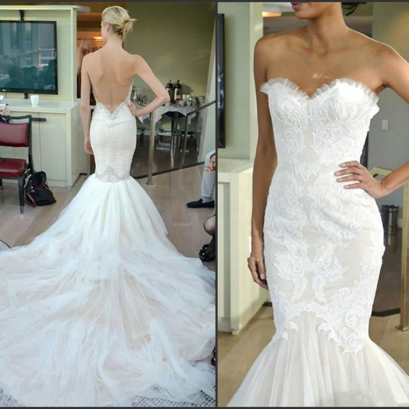 High Quality Lace Appliques Mermaid Wedding Dresses 2016 Stunning Ruffles Swe